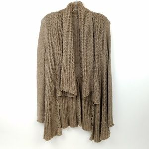 KNITTED & KNOTTED Womens Distressed Open Cardigan